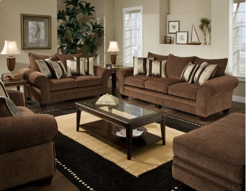 4 Piece Masterpiece Chocolate Sofa, Loveseat, Chair and Ottoman