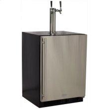 Marvel Built-In Indoor Twin Tap Beer Dispenser - Solid Stainless Steel Door - Left Hinge