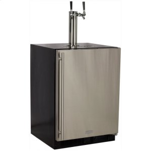 MarvelMarvel Built-In Indoor Twin Tap Beer Dispenser - Solid Panel Overlay Ready Door - Integrated Right Hinge