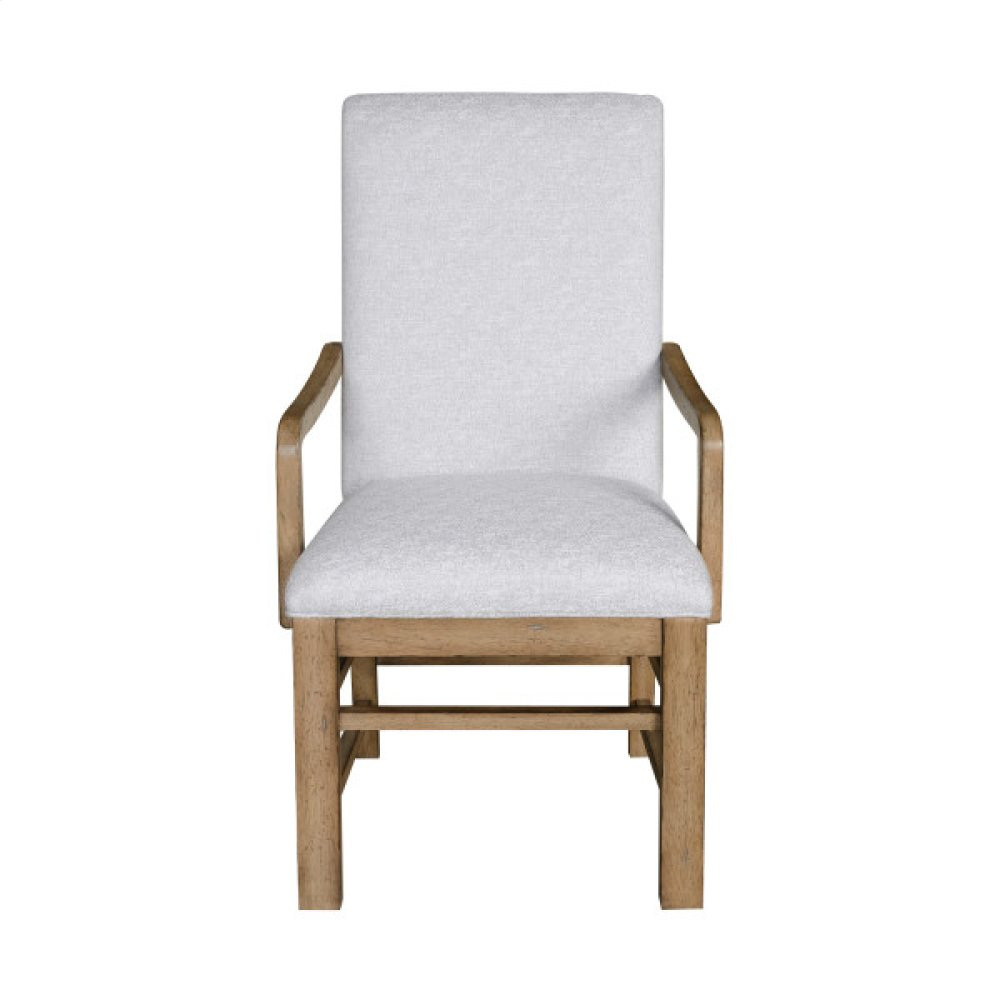 Two-Tone Casual Dining Arm Chair in Grey / Birch Brown