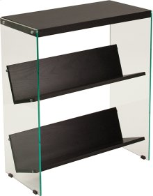 "Highwood Collection 3 Shelf 28""H Glass Frame Bookcase in Dark Ash Finish"