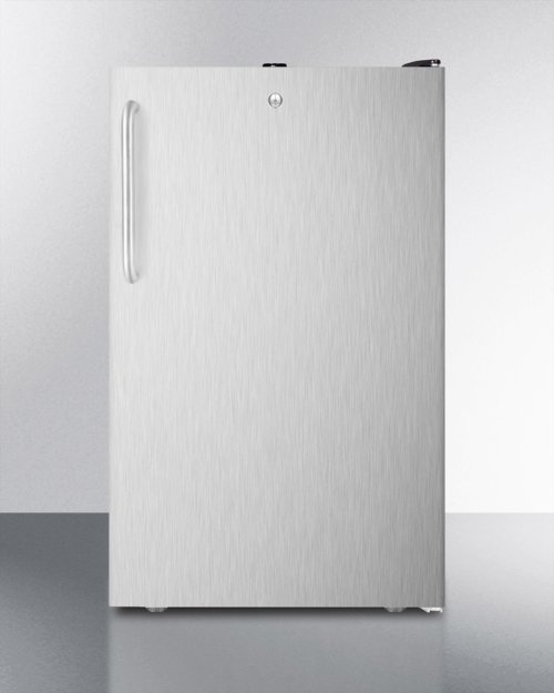 """ADA Compliant 20"""" Wide Built-in Refrigerator-freezer With A Lock, Stainless Steel Door, Towel Bar Handle and Black Cabinet"""