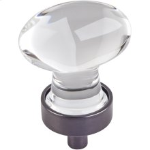 "1-1/4"" Overall Length Glass Football Cabinet Knob."