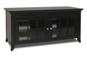 "48"" Wide Credenza, Solid Wood and Veneer In A Black Finish, Accommodates Most 52"" and Smaller Flat Panels"