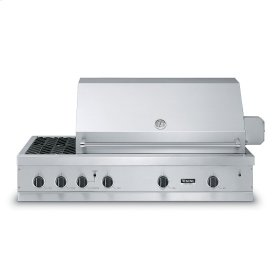 "Stainless Steel 53"" Ultra-Premium E-Series Grill with Side Burner and TruSear - VGIQ (53"" wide with two standard 29,000 BTU stainless steel burners and one 30,000 BTU TruSear infrared and side burners (Natural Gas))"