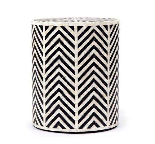 Kiara Side Table - Cream/ Black Horn