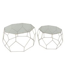 """S/2 Gold Octagon Accent Table,glass 36"""""""