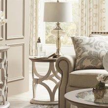 Elizabeth - Round Side Table - Smokey White/antique Oak Finish