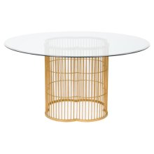 Noore Gold Leaf Glass Dining Table - Gold