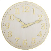 Yellow and White Wall Clock. Product Image