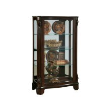 Distinguished Carved 3 Shelf Curio Cabinet in Cherry Brown