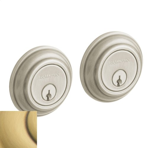 Satin Brass and Brown Traditional Deadbolt