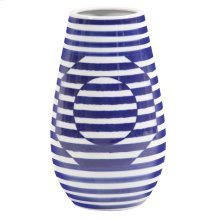 Optical Illusion Blue and White Striped Ceramic Vase, Small