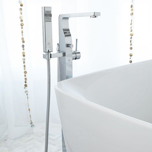 Square Floor Mount Bathtub Faucet - Polished Chrome