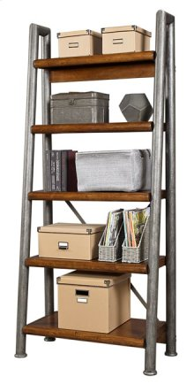 Leaning Metal and Wood Bookcase