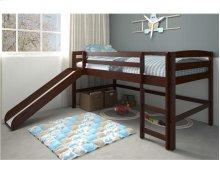 Pine Ridge Chocolate Mini Loft With Slide with options: Chocolate, Twin