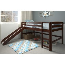 Pine Ridge Chocolate Mini Loft With Slide with options: Chocolate, Twin
