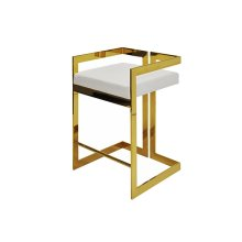 Counter Height Brass Stool With White Vinyl Cushion