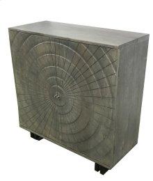 Bengal Manor Acacia Wood Grey 2 Door Carved Design Cabinet