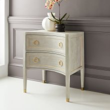 Gustavian Two Drawer Concave Nightstand, Painted Antique Grey With Gold Leaf Detailing. Gold Leaf Hardware.