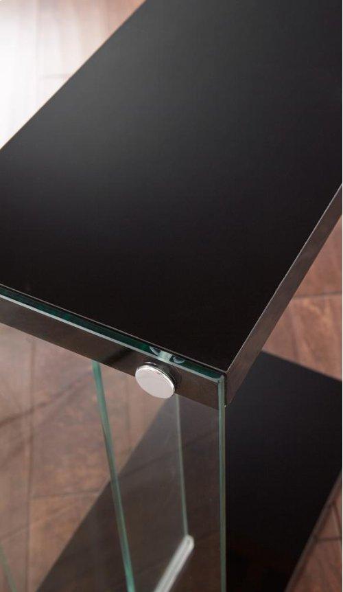 "Elaina Chair Side End Table, Glossy Black, 18.5""x10""x25"""