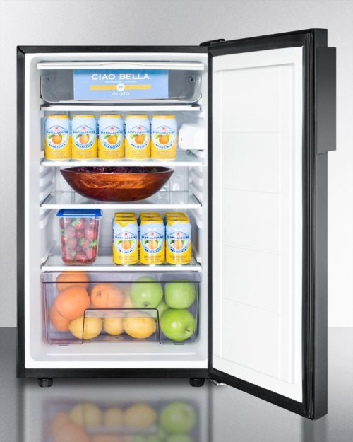 """ADA Compliant 20"""" Wide Built-in Refrigerator-freezer With A Lock and Black Exterior"""