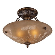 Restoration 3-Light Semi Flush in Golden Bronze with Amber Glass