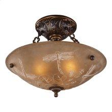 Restoration 3-Light Semi Flush in Golden Bronze with Amber Glass