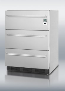 Commercially Approved Three-drawer Stainless Steel Refrigerator With Temperature Alarm and Hospital Grade Cord; for Built-in or Freestanding Use