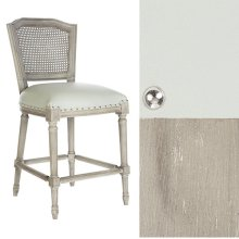 Gray Chalk Ethan Counter Stool in Leather/Cane Back