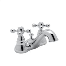 """Polished Chrome Arcana 4"""" Centerset Lavatory Faucet with Arcana Ornate Metal Lever"""