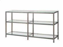 "- Two tier double bookcase finished in black nickel- Clear tempered glass shelves- Constructed with steel- Also available in 26""W x 14""D x 77.75""H (#801017)"