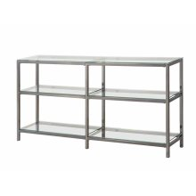 Contemporary Black Nickel Two-tier Double Bookcase