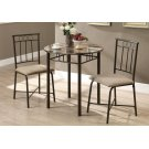 DINING SET - 3PCS SET / CAPPUCCINO MARBLE / BRONZE METAL Product Image