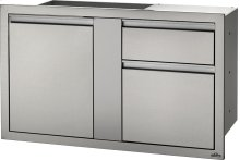 "42"" X 24"" Large Single Door & Standard Drawer and Standard Drawer , Stainless Steel"