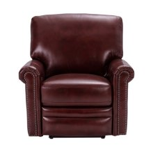 Grant Leather Power Recliner in Deep Merlot Red