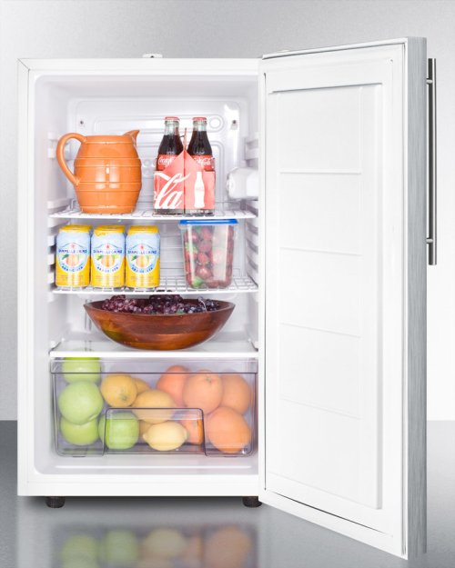 "Commercially Listed ADA Compliant 20"" Wide Counter Height All-refrigerator, Auto Defrost W/lock, Stainless Steel Door, Thin Handle, and White Cabinet"