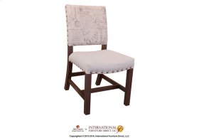Chair w/Linen Fabric and Grey Printing on back