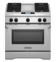 KitchenAid® 36-Inch 4-Burner with Steam-Assist Oven, Dual Fuel Freestanding Range, Commercial-Style - Stainless Steel
