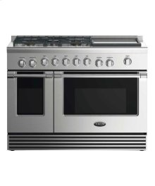 """48"""" Dual Fuel Range: 5 Burners With Griddle"""