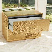 Flower Burst Two-Drawer Cabinet-Brass