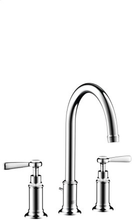 Polished Chrome 3-hole basin mixer 180 with pop-up waste set and lever handles