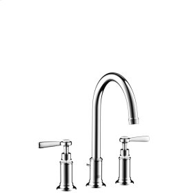 Chrome 3-hole basin mixer 180 with lever handles and pop-up waste set