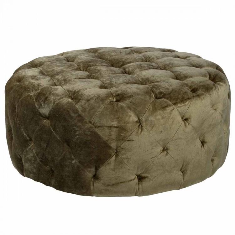 "Victoria 36"" Round Moss Green Fabric Ottoman"