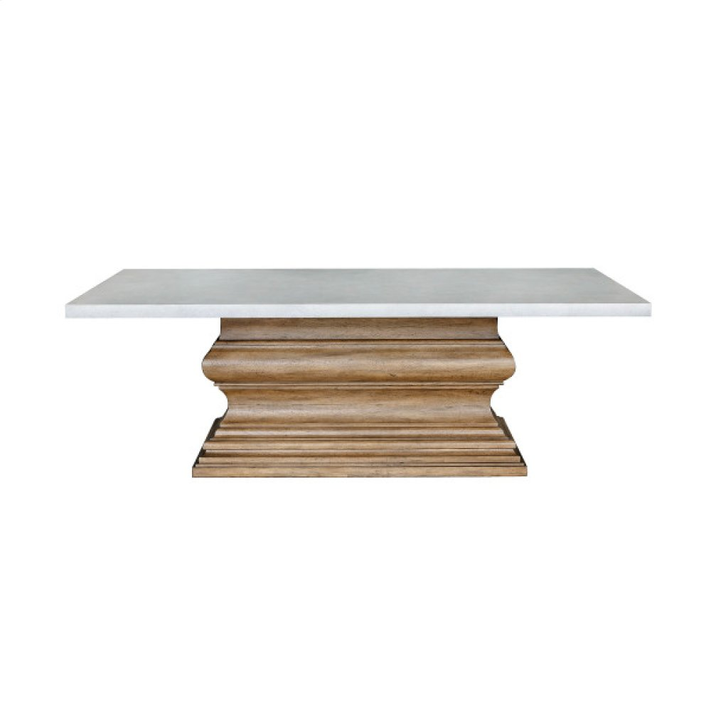 Dual-Tone Rectangular Dining Table with Crown Molding Base - Base Only