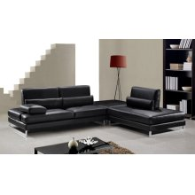 Divani Casa Tango - Modern Black Leather Sectional Sofa