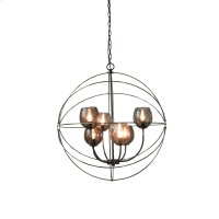 6-Light Retro Orb Chandelier in Black Chrome with Product Image