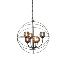 6-Light Retro Orb Chandelier in Black Chrome with