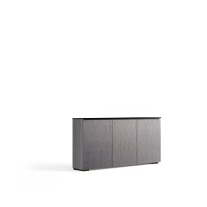 Salamander DesignsThe light look and feel of tall grasses is finely set in a vertical textured pattern. Alpi gray oak with black glass top and black feet work in unison, creating the cabinet's hi-tech facade.
