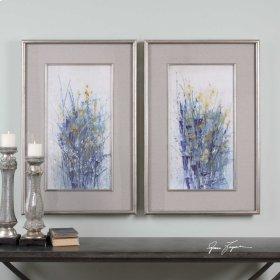 Indigo Florals Framed Prints, S/2